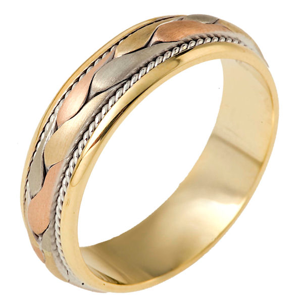 Item # 110271E - 18 kt tri-color hand made comfort fit Wedding Band 6.5 mm wide. The ring has a hand crafted braid in the center with one hand made rope on each side of the braid. The center is brush finish and the rest is polished. Different finishes may be selected or specified.
