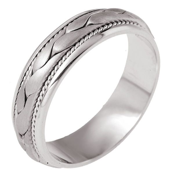 Item # 110271WE - 18K white gold, hand braided, 6.5 mm wide, comfort fit wedding band. The ring has hand twisted rope on each side of the braid.