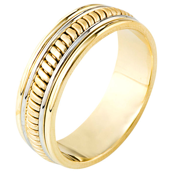 Item # 110291E - 18 kt two-tone hand made comfort fit Wedding Band 6.5 mm wide. The ring has a hand made pattern in the center that is a brush finish. The edges are polished. Different finishes may be selected or specified.