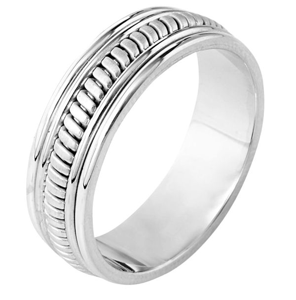 Item # 110291WE - 18 kt white gold, hand made comfort fit Wedding Band 6.5 mm wide. The ring has a hand made pattern in the center that is a brush finish. The edges are polished. Different finishes may be selected or specified.