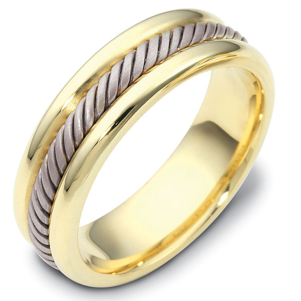 Item # 110321 - 14 kt two-tone hand made comfort fit, 6.5 mm wide, approximately 2.4 mm thick wedding band. Color combinations can be customized. The ring has a handmade rope in the center which is a brush finish. The edges are polished. Different finishes may be selected or specified.