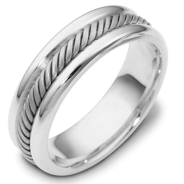 Item # 110321WE - 18 kt white gold, hand made comfortfit, 6.5 mm wide approximately 2.4 mm thick wedding band. The ring has a handmade rope in the center which is a brush finish. The edges are polished. Different finishes may be selected or specified.
