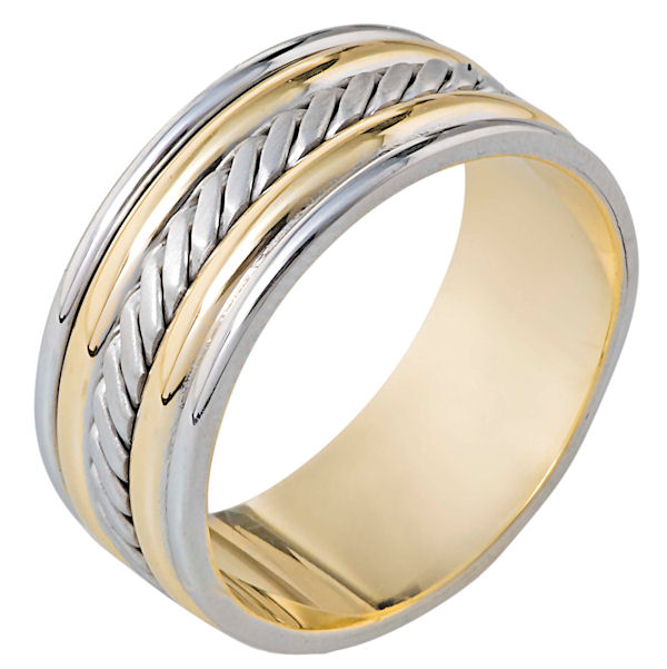 Item # 110331E - 18 kt two-tone hand made comfort fit, 9.0 mm wide wedding band. The ring has a handmade pattern in the center which is a brush finish. The edges are polished. Different finishes may be selected or specified.