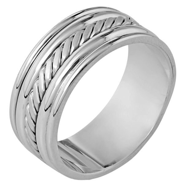 Item # 110331WE - 18 kt white gold, hand made comfort fit, 9.0 mm wide wedding band. The ring has a handmade pattern in the center which is a brush finish. The edges are polished. Different finishes may be selected or specified.