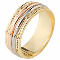 Item # 110341E - Tri-Color Gold Comfort Fit Wedding Band