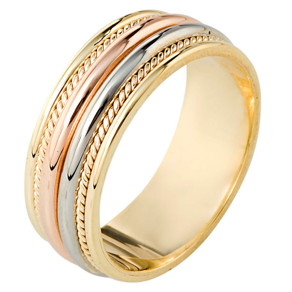 Item # 110341E - 18 kt tri-color hand made comfort fit, 8.0 mm wide wedding band. The ring has two hand made ropes on each side of the band. The whole ring has a polished finish. Different finishes may be selected or specified.