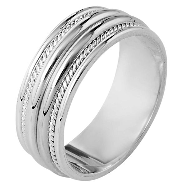 Item # 110341PP - Platinum hand made comfort fit, 8.0 mm wide wedding band. The ring has two hand made ropes on each side of the band. The whole ring has a polished finish. Different finishes may be selected or specified.