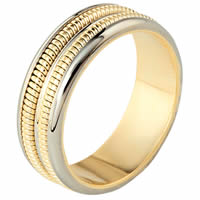 Item # 110351E - Two-Tone Gold Comfort Fit Wedding Band