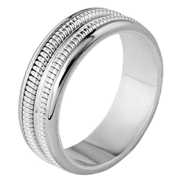 Item # 110351WE - 18 kt white gold, hand made comfort fit, 7.0 mm wide wedding band. The ring has two hand made patterns in the band that have a brush finish. The edges are polished. Different finishes may be selected or specified.