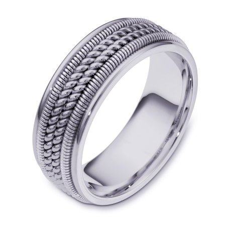 Item # 110361W - 14 kt white gold, hand made comfort fit, 8.0 mm wide wedding band. The ring has two different handmade patterns in the ring, a hand made rope and hand made spring designs. The ring has a polished finish. Different finishes may be selected or specified.