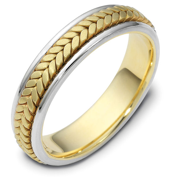Item # 110371E - 18 kt hand made comfort fit, 5.0 mm wide wedding band. The ring has a handmade braid in the center with a brush finish. The edges are polished. Different finishes may be selected or specified.
