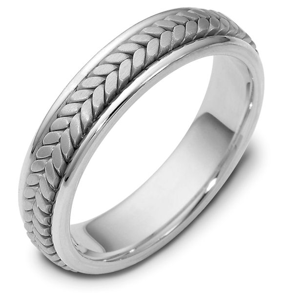 Item # 110371W - 14 kt white gold, hand made comfortfit, 5.0 mm wide wedding band. The ring has a handmade braid in the center with a brush finish. The edges are polished. Different finishes may be selected or specified.