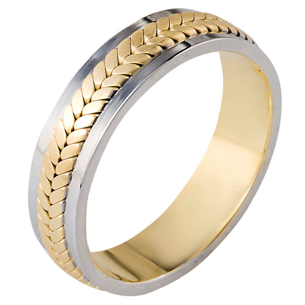 Item # 110381 - 14 kt two-tone hand made comfort fit Wedding Band 5.5 mm wide. The ring has a handmade braid in the center with a brush finish. The edges are polished. Different finishes may be selected or specified.
