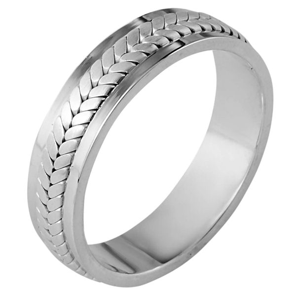 Item # 110381W - 14 kt white gold, hand made comfort fit Wedding Band 5.5 mm wide. The ring has a handmade braid in the center with a brush finish. The edges are polished. Different finishes may be selected or specified.