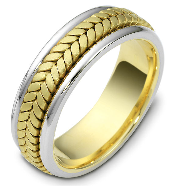 Item # 110391E - 18 kt two-tone hand made comfort fit, 7.0 mm wide wedding band. The ring has a handmade braid in the center with a brush finish. The edges are polished. Different finishes may be selected or specified.