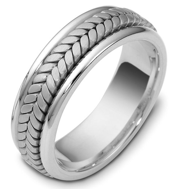 Item # 110391WE - 18 kt white gold, hand made comfort fit, 7.0 mm wide wedding band. The ring has a handmade braid in the center with a brush finish. The edges are polished. Different finishes may be selected or specified.