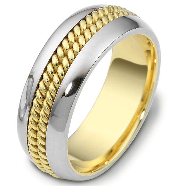 Item # 110411E - 18kt two-tone hand made comfort fit, 8.0 mm wide wedding band. The ring has two hand made ropes in the center. The whole ring is polished. Different finishes may be selected or specified.