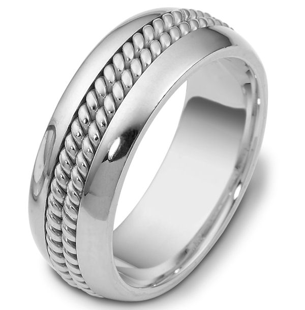 Item # 110411W - 14 kt white gold, hand made comfort fit, 8.0 mm wide wedding band. The ring has two hand made ropes in the center. The whole ring is polished. Different finishes may be selected or specified.