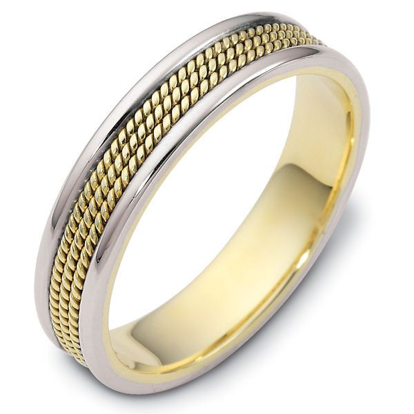 Item # 110431E - 18 kt two-tone hand made 5.0 mm wide wedding band. The ring has 3 hand made ropes in the center with a polished finish. The edges are polished. Different finishes may be selected or specified.
