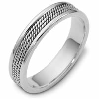 Item # 110431WE - 18K White Gold Comfort Fit 5mm Handmade Wedding Ring