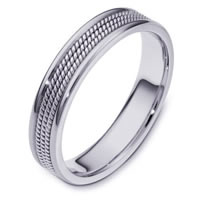 18K White Gold Comfort Fit 5mm Hand Made Wedding Ring