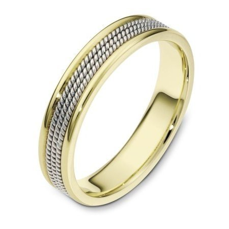 Item # 110441E - 18 kt two-tone hand made comfort fit, 5.0 mm wide wedding band. The ring has 3 hand made ropes in the center with a polished finish. The edges are polished. Different finishes may be selected or specified.