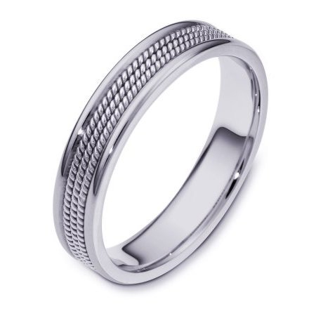 Item # 110441W - 14 kt white gold, hand made comfort fit, 5.0 mm wide wedding band. The ring has 3 hand made ropes in the center with a polished finish. The edges are polished. Different finishes may be selected or specified.