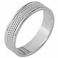14K White Gold Wedding Ring with Twisted Ropes