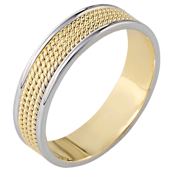Item # 110451E - 18 kt two-tone hand made comfort fit, 6.0 mm wide wedding band. The ring has 4 hand made ropes in the center with a polished finish. The edges are polished. Different finishes may be selected or specified.