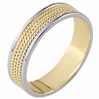 Item # 110451 - 14K Two-Tone Gold Comfort Fit 6mm Handmade Wedding Ring