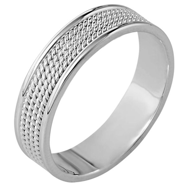 Item # 110451WE - 18 kt white gold, hand made comfortfit, 6.0 mm wide wedding band. The ring has 4 hand made ropes in the center with a polished finish. The edges are polished. Different finishes may be selected or specified.