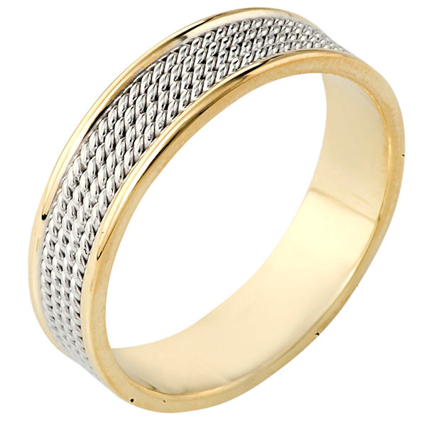 Item # 110461 - 14K Two-Tone Gold Comfort Fit 6mm Handmade Wedding Ring View-1