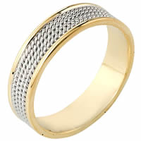 18K Two-Tone Gold Comfort Fit 6mm Handmade Wedding Ring