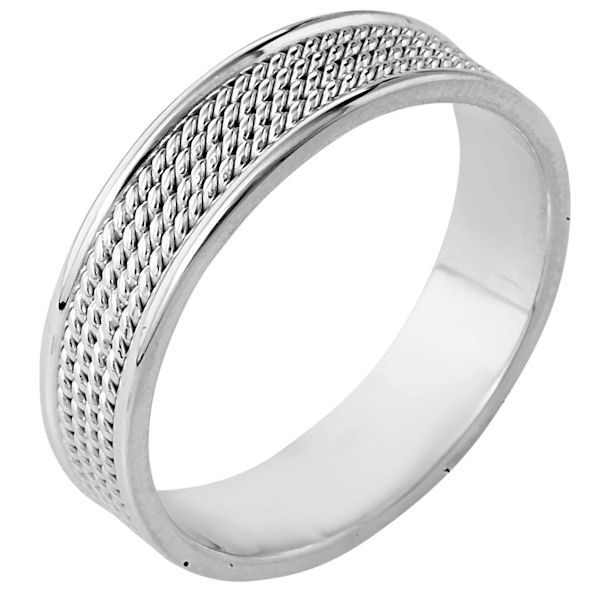 Item # 110461WE - 18 kt white gold, hand made comfort fit, 6.0 mm wide wedding band. The ring has 4 hand made ropes in the center with a polished finish. The edges are polished. Different finishes may be selected or specified.