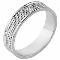 Item # 110461WE - 18K White Gold Comfort Fit 6mm Handmade Wedding Ring