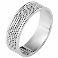 14K White Gold Comfort Fit 7mm Handmade Wedding Ring