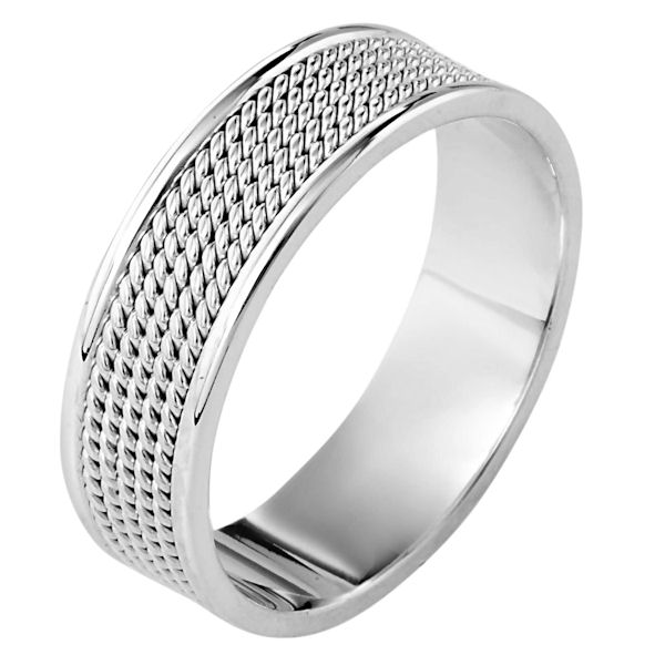 Item # 110471WE - 18 kt white gold, hand made comfort fit, 7.0 mm wide wedding band. The ring has 5 hand made ropes in the center with a polished finish. The edges are polished. Different finishes may be selected or specified.