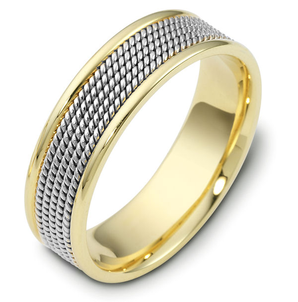 Item # 110481E - 18 kt two-tone hand made comfort fit, 7.0 mm wide wedding band. The ring has 5 hand made ropes in the center with a polished finish. The edges are polished. Different finishes may be selected or specified.