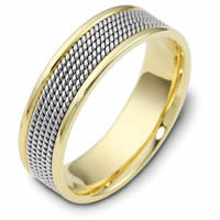 Item # 110481E - 18K Two-Tone Gold Comfort Fit 7mm Handmade Wedding Band