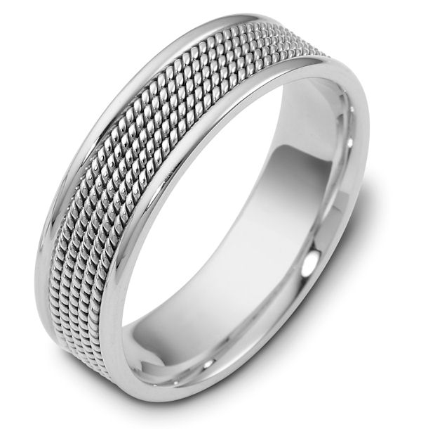 Item # 110481WE - 18 kt white gold, hand made comfort fit, 7.0 mm wide wedding band. The ring has 5 hand made ropes in the center with a polished finish. The edges are polished. Different finishes may be selected or specified.