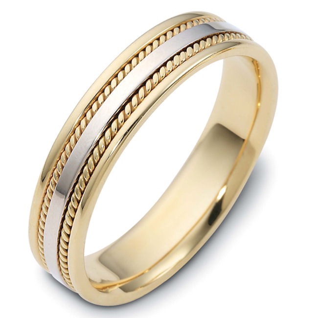 Item # 110491E - 18 kt two-tone hand made comfort fit, 5.0 mm wide wedding band.