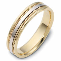 Item # 110491E - Two-Tone Gold 5mm Handmade Comfort Fit Band