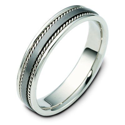 Item # 110491TG - 14 kt white gold and titanium , comfort fit, 5.0 mm wide wedding band.