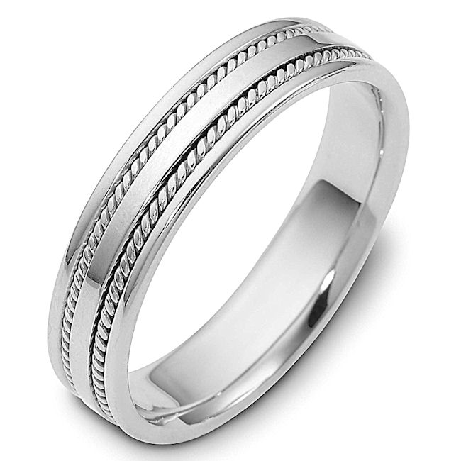 Item # 110491W - 14 k white gold, hand made comfort fit, 5.0 mm wide wedding band.