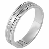Platinum 5mm wide Handmade Comfort Fit Wedding Band