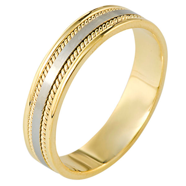 Item # 110501E - 18 kt two-tone hand made comfort fit, 5.0 mm wide wedding band. The ring has two hand made ropes on each side of the band. The center portion of the ring is a matte finish and the rest of the band is polished. Different finishes may be selected or specified.