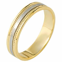 Item # 110501E - 18K Two-Tone Gold Comfort Fit Wedding Band