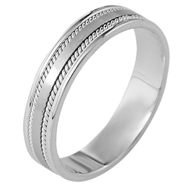 Item # 110501W - 14 kt white gold, hand made comfort fit, 5.0 mm wide wedding band. The ring has two hand made ropes on each side of the band. The center portion of the ring is a matte finish and the rest of the band is polished. Different finishes may be selected or specified.