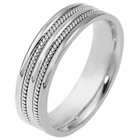 Item # 110511WE - White Gold Comfort Fit 5.5mm Handmade Wedding Ring