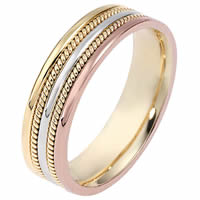 Item # 110511E - Tri-Color Gold 5.5mm Handmade Comfort Fit Wedding Band